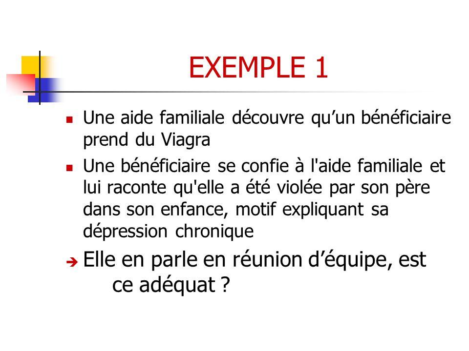 EXEMPLE 1 Elle en parle en réunion d'équipe, est ce adéquat