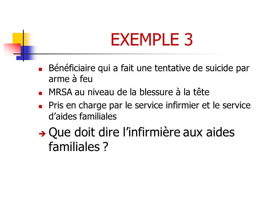 EXEMPLE 3 Que doit dire l'infirmière aux aides familiales