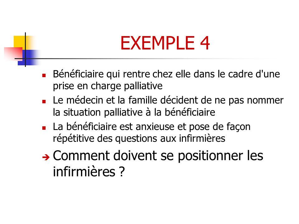 EXEMPLE 4 Comment doivent se positionner les infirmières