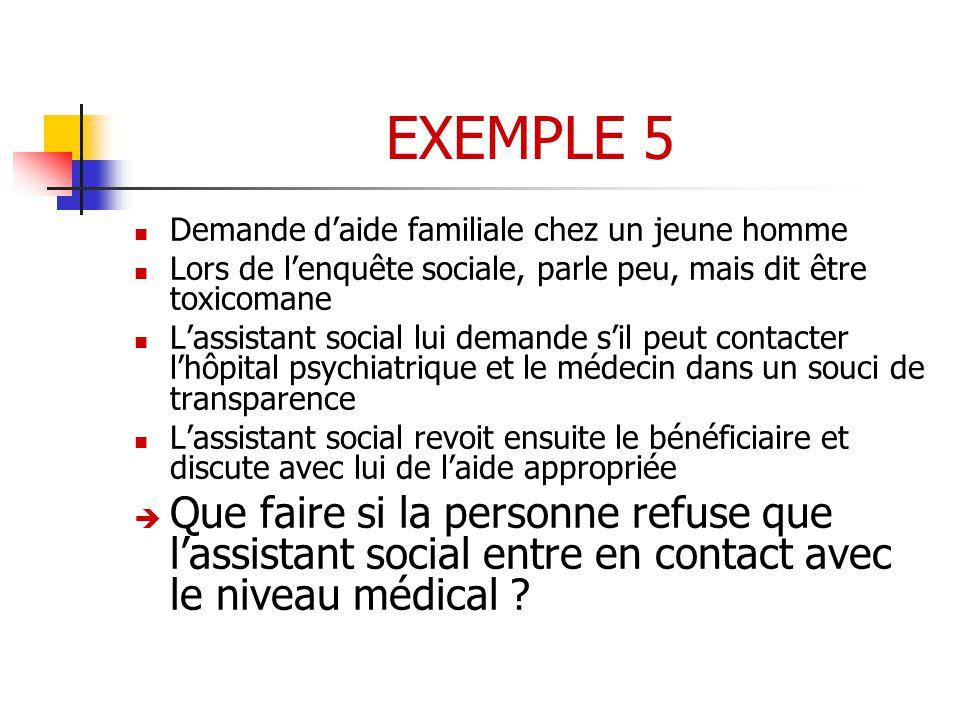 EXEMPLE 5 Demande d'aide familiale chez un jeune homme. Lors de l'enquête sociale, parle peu, mais dit être toxicomane.
