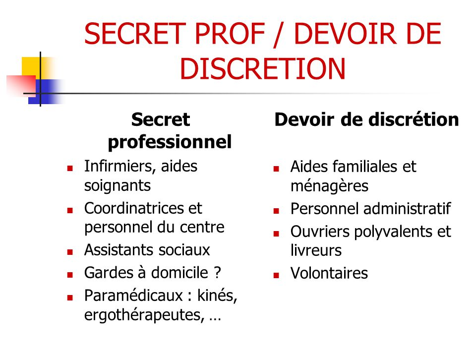 SECRET PROF / DEVOIR DE DISCRETION