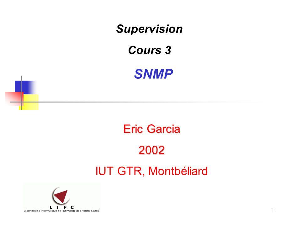 Supervision Cours 3 SNMP Eric Garcia 2002 IUT GTR, Montbéliard
