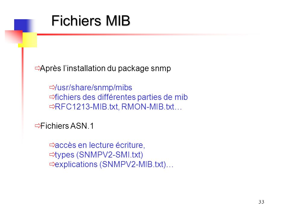Fichiers MIB Après l'installation du package snmp /usr/share/snmp/mibs