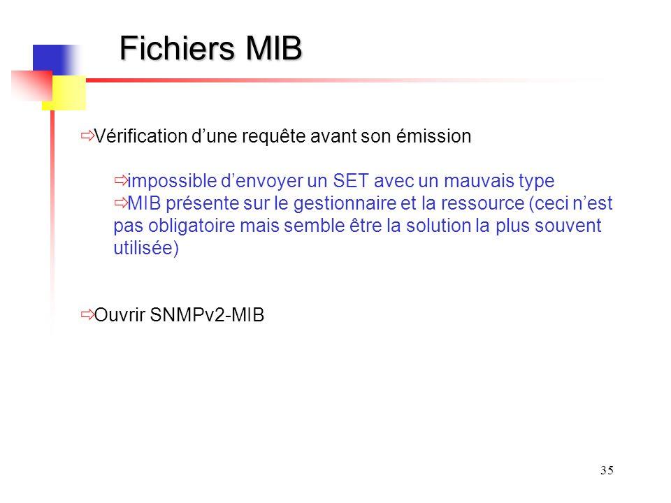 Fichiers MIB Vérification d'une requête avant son émission