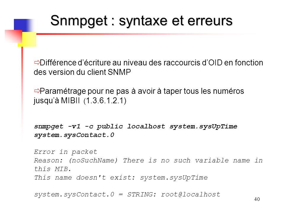 Snmpget : syntaxe et erreurs
