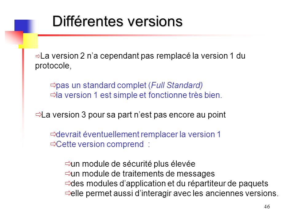 Différentes versions pas un standard complet (Full Standard)