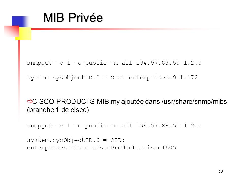 MIB Privée snmpget -v 1 -c public -m all 194.57.88.50 1.2.0. system.sysObjectID.0 = OID: enterprises.9.1.172.