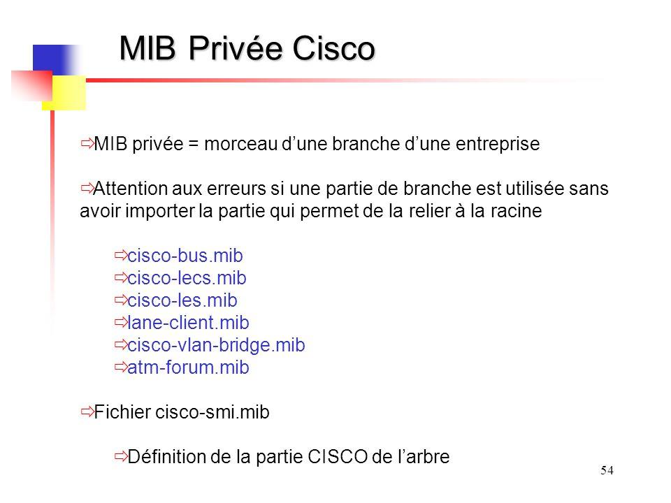 MIB Privée Cisco MIB privée = morceau d'une branche d'une entreprise