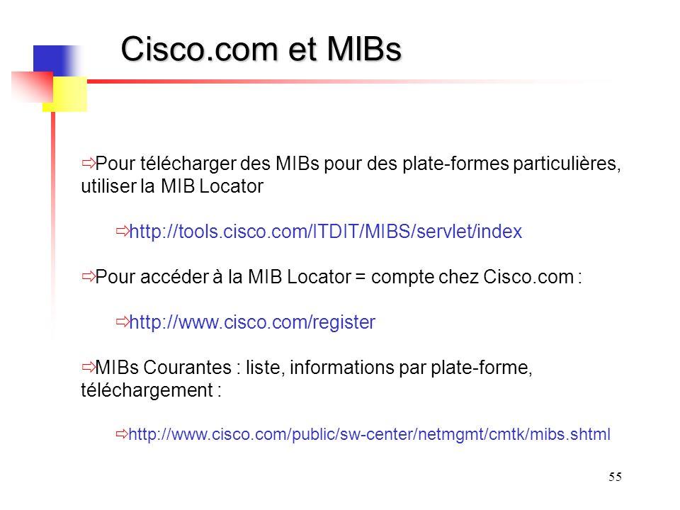 Cisco.com et MIBs Pour télécharger des MIBs pour des plate-formes particulières, utiliser la MIB Locator.