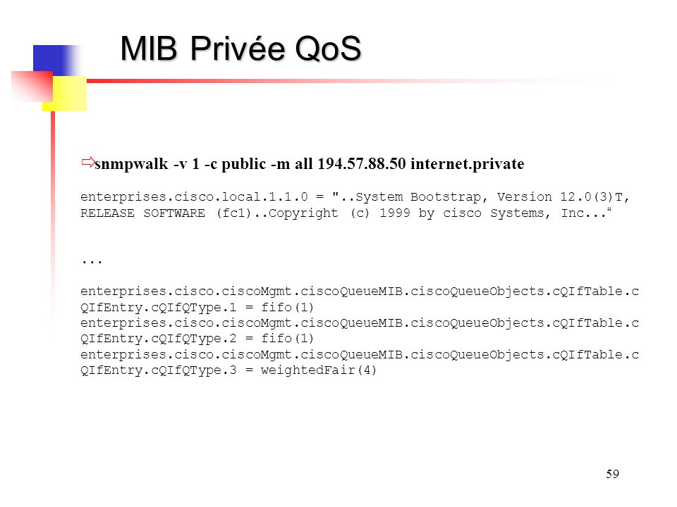 MIB Privée QoS snmpwalk -v 1 -c public -m all 194.57.88.50 internet.private