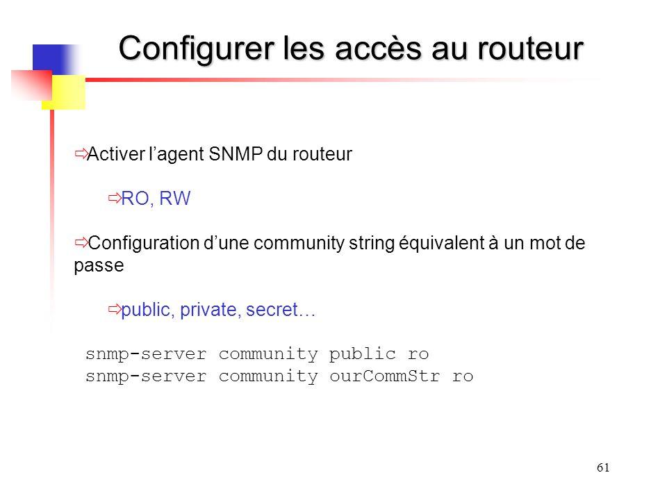 Configurer les accès au routeur