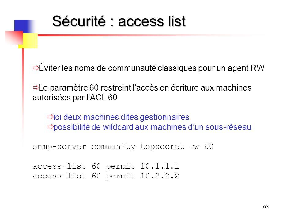 Sécurité : access list Éviter les noms de communauté classiques pour un agent RW.
