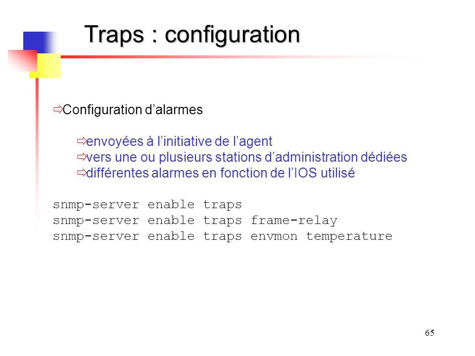 Traps : configuration Configuration d'alarmes