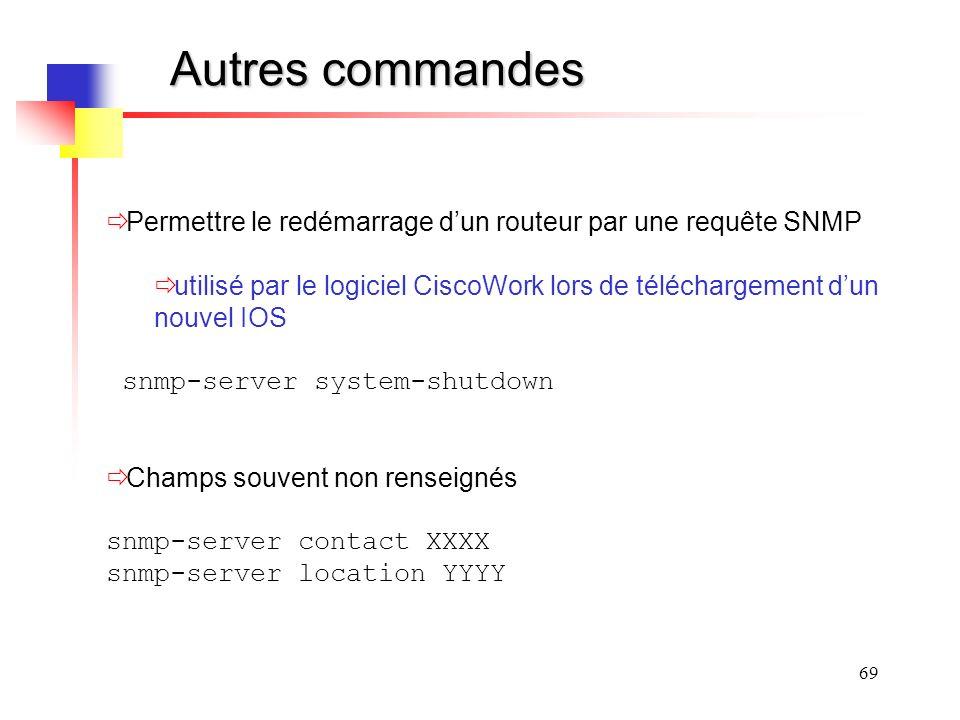 Autres commandes Permettre le redémarrage d'un routeur par une requête SNMP.