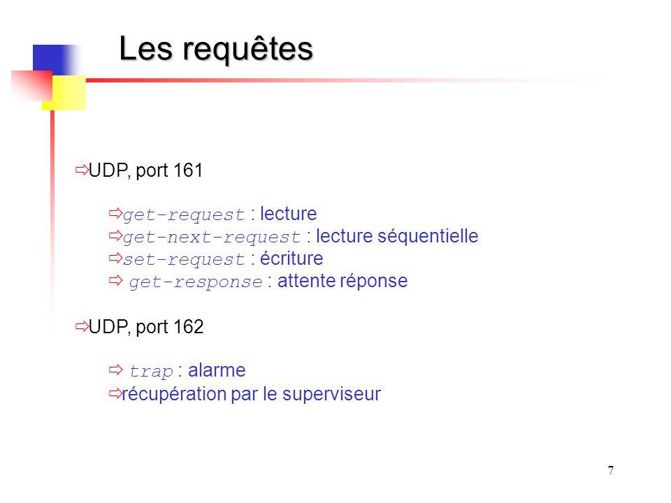 Les requêtes UDP, port 161 get-request : lecture