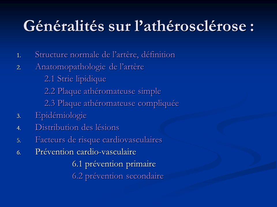 Généralités sur l'athérosclérose :
