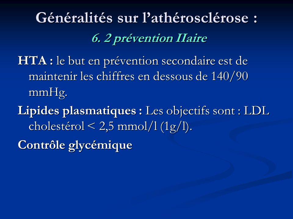 Généralités sur l'athérosclérose : 6. 2 prévention IIaire
