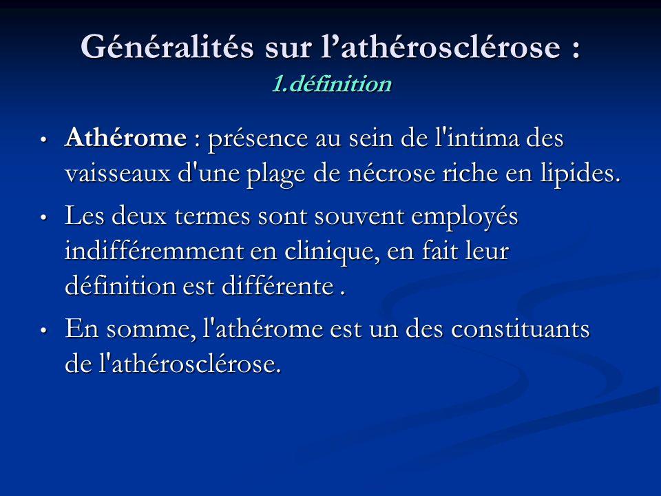 Généralités sur l'athérosclérose : 1.définition