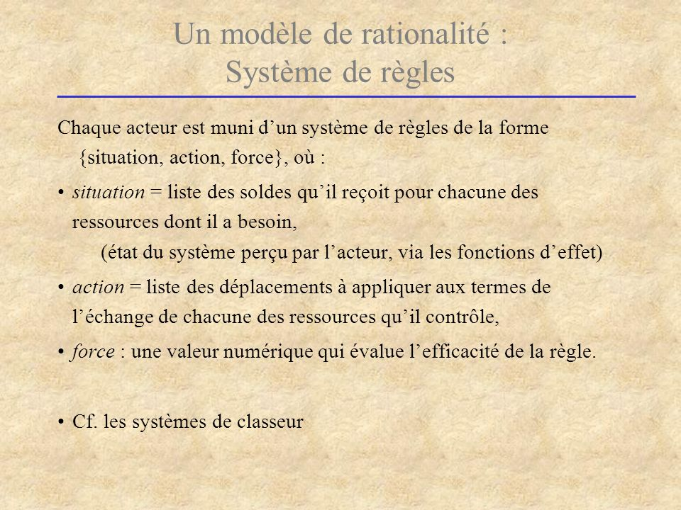 Un modèle de rationalité : Système de règles