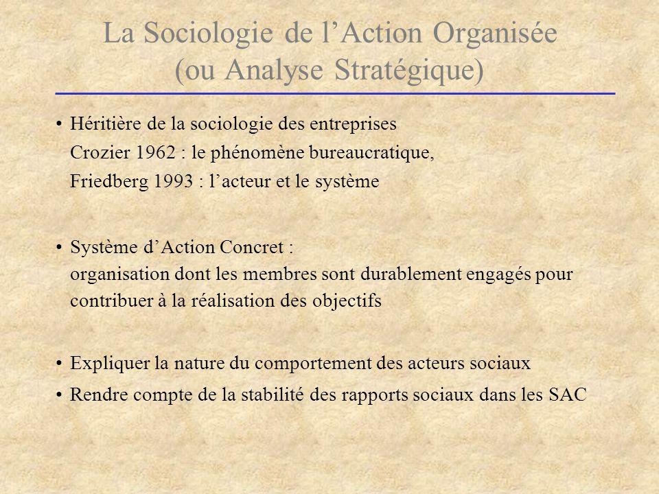 La Sociologie de l'Action Organisée (ou Analyse Stratégique)