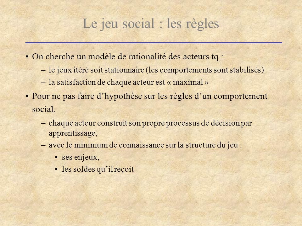 Le jeu social : les règles