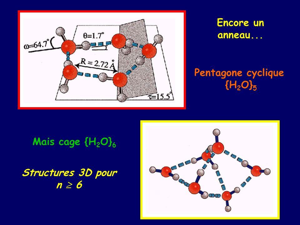 Encore un anneau... Pentagone cyclique {H2O}5 Mais cage {H2O}6 Structures 3D pour n  6