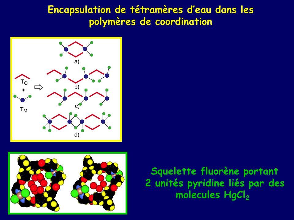 Encapsulation de tétramères d'eau dans les polymères de coordination