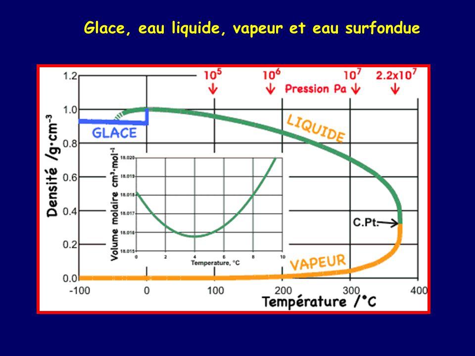 Glace, eau liquide, vapeur et eau surfondue