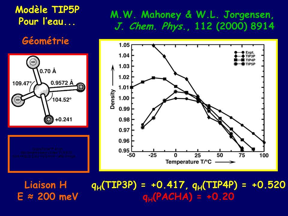 M.W. Mahoney & W.L. Jorgensen, qH(TIP3P) = +0.417, qH(TIP4P) = +0.520