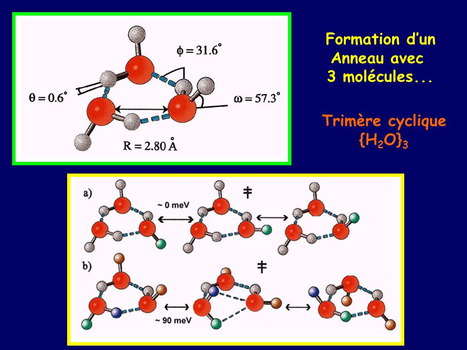 Formation d'un Anneau avec 3 molécules... Trimère cyclique {H2O}3