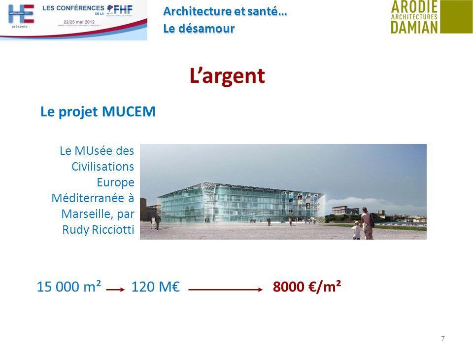 L'argent Le projet MUCEM 15 000 m² 120 M€ 8000 €/m²
