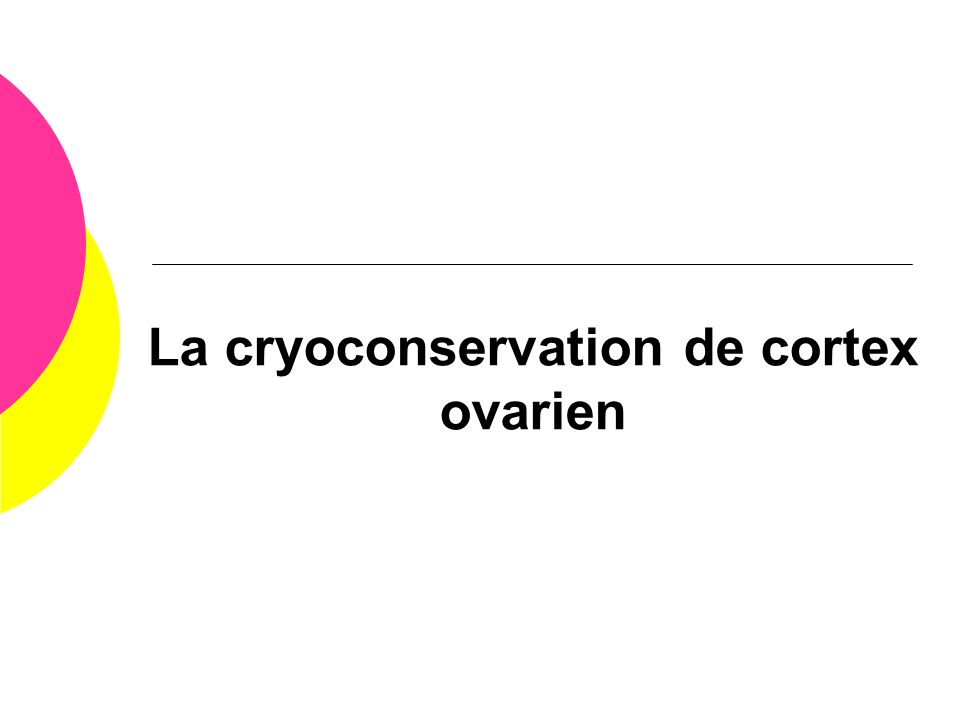 La cryoconservation de cortex ovarien