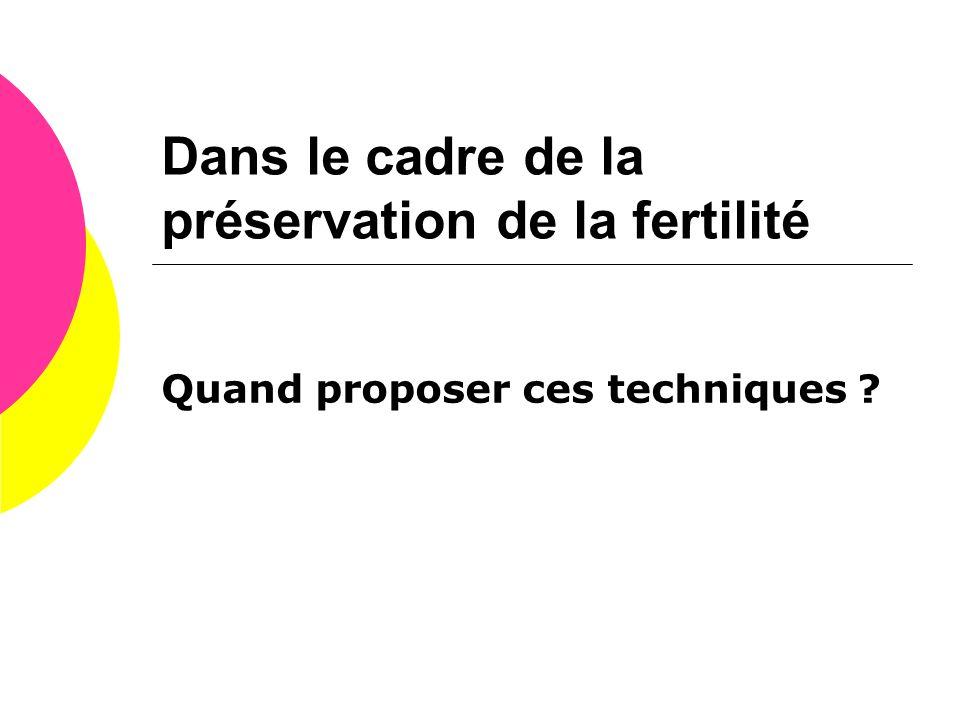 Dans le cadre de la préservation de la fertilité