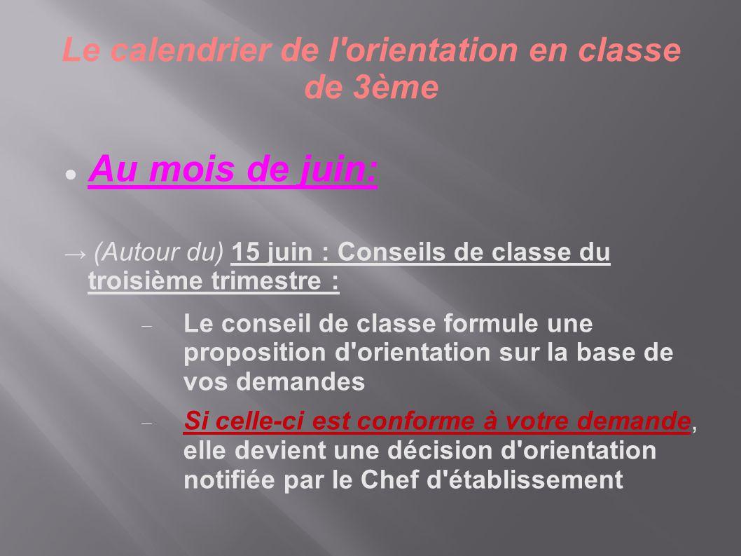 Le calendrier de l orientation en classe de 3ème