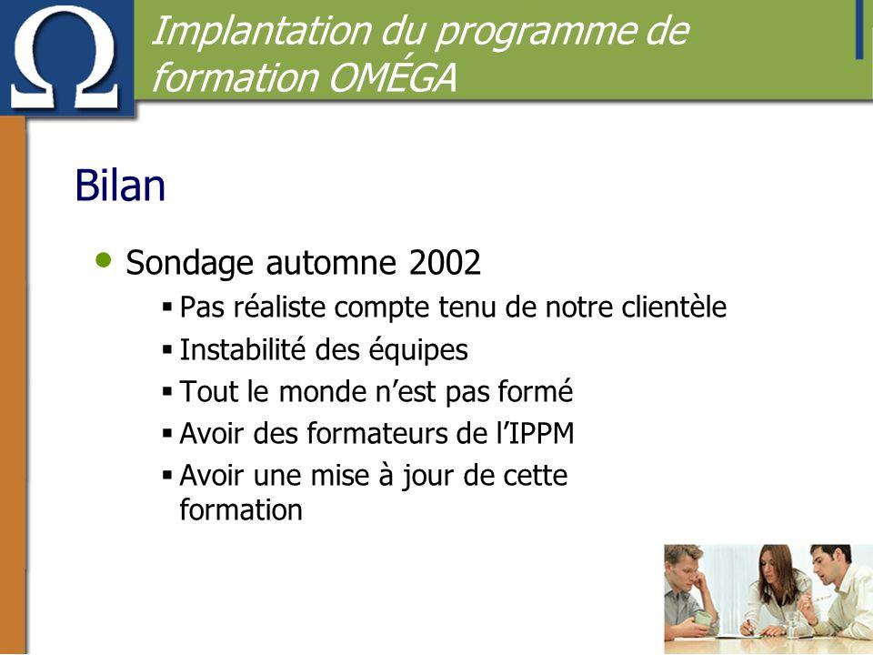 Bilan Implantation du programme de formation OMÉGA