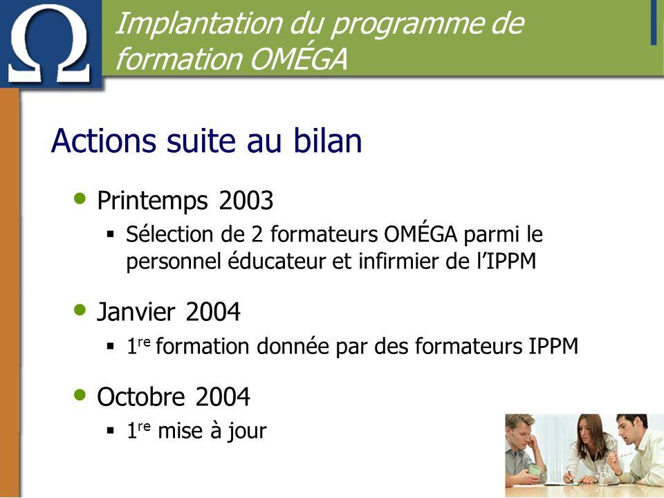 Actions suite au bilan Implantation du programme de formation OMÉGA