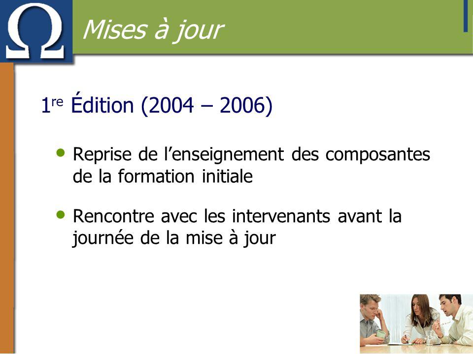 Mises à jour 1re Édition (2004 – 2006)