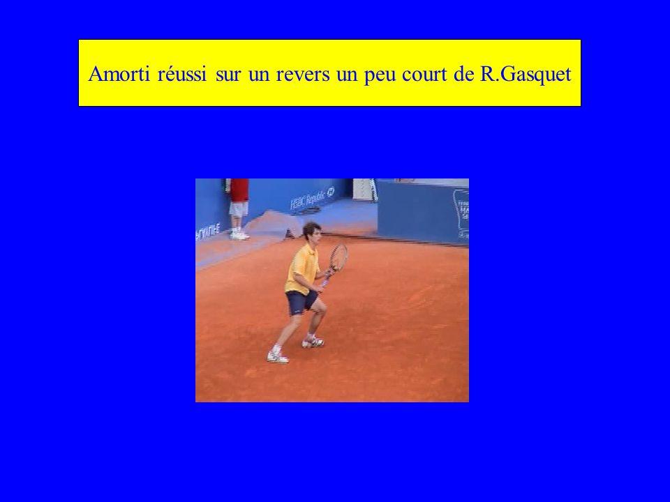 Amorti réussi sur un revers un peu court de R.Gasquet