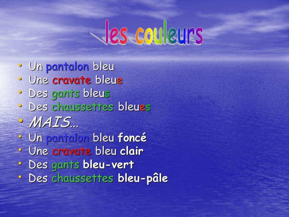les couleurs MAIS… Un pantalon bleu Une cravate bleue Des gants bleus