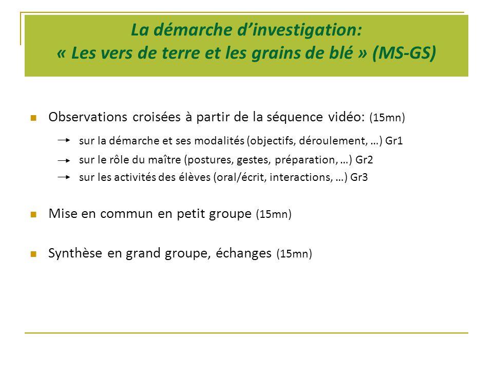 La démarche d'investigation: « Les vers de terre et les grains de blé » (MS-GS)