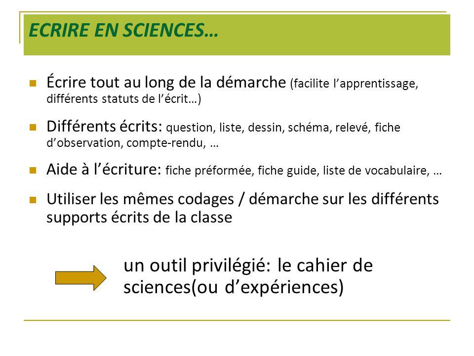 ECRIRE EN SCIENCES… Écrire tout au long de la démarche (facilite l'apprentissage, différents statuts de l'écrit…)