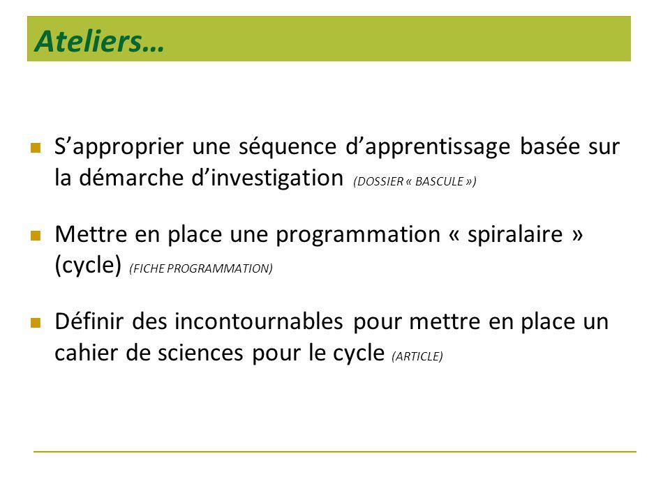 Ateliers… S'approprier une séquence d'apprentissage basée sur la démarche d'investigation (DOSSIER « BASCULE »)