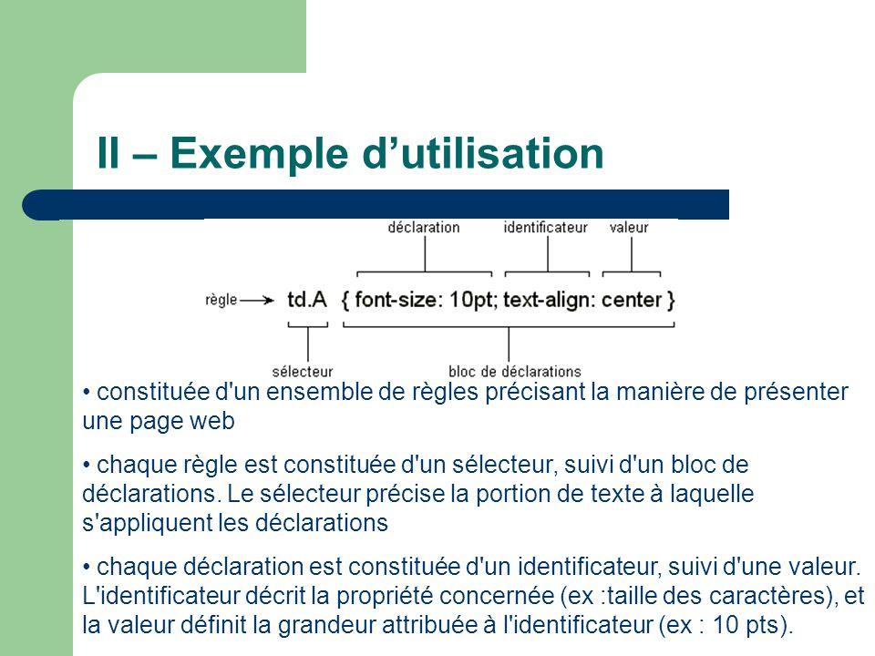 II – Exemple d'utilisation
