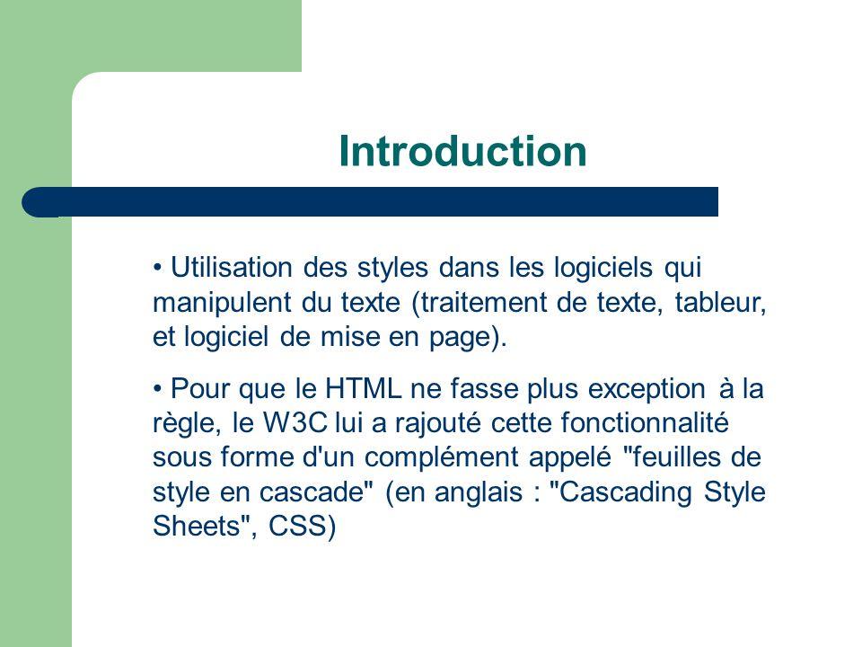 Introduction Utilisation des styles dans les logiciels qui manipulent du texte (traitement de texte, tableur, et logiciel de mise en page).