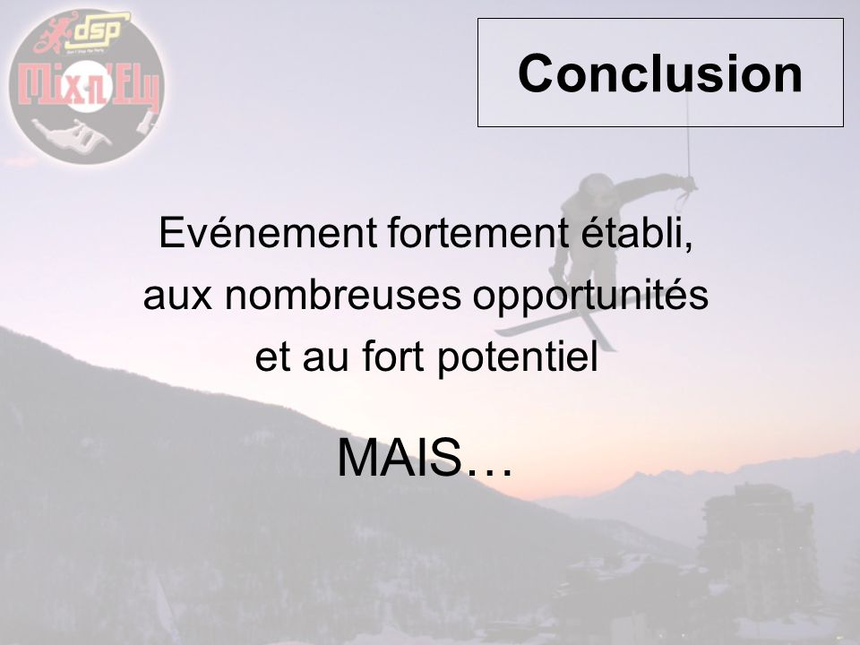 Conclusion MAIS… Evénement fortement établi,