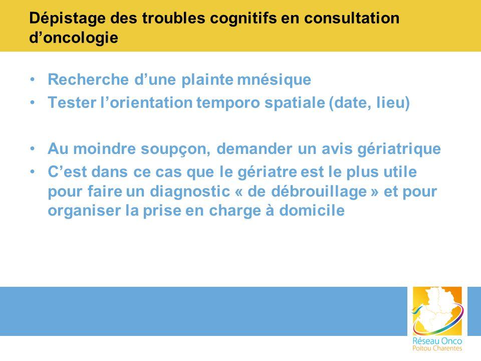 Dépistage des troubles cognitifs en consultation d'oncologie