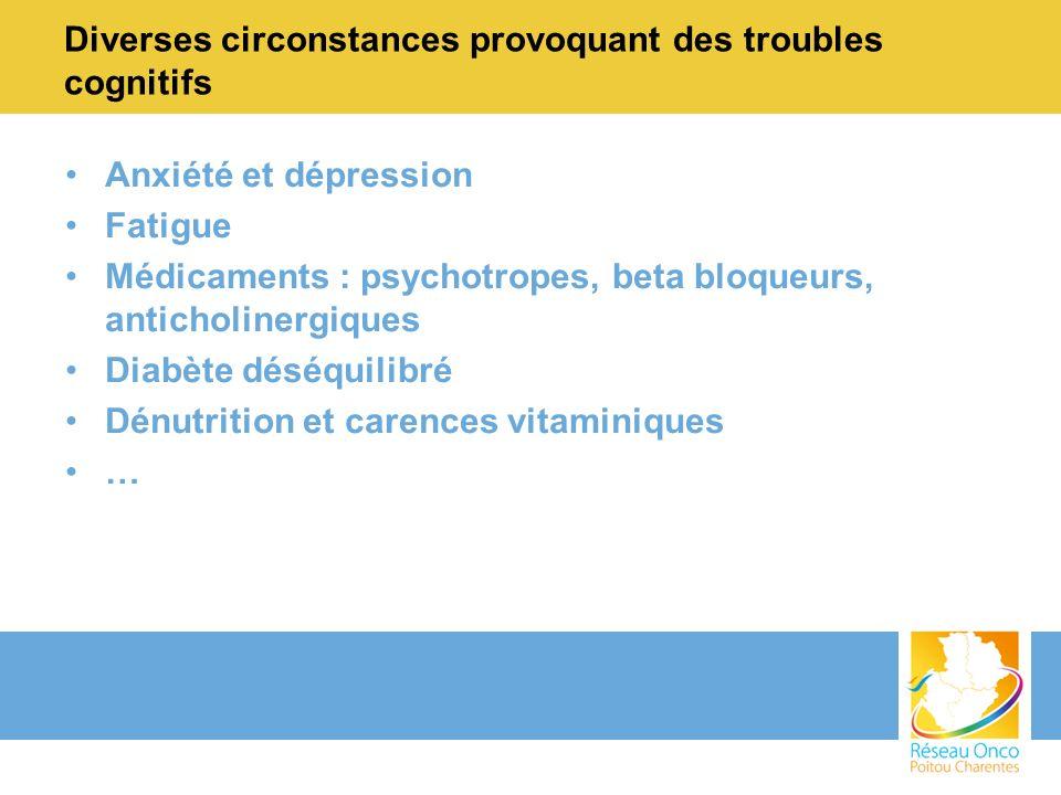 Diverses circonstances provoquant des troubles cognitifs