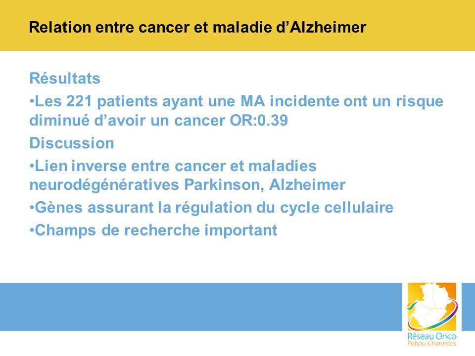 Relation entre cancer et maladie d'Alzheimer