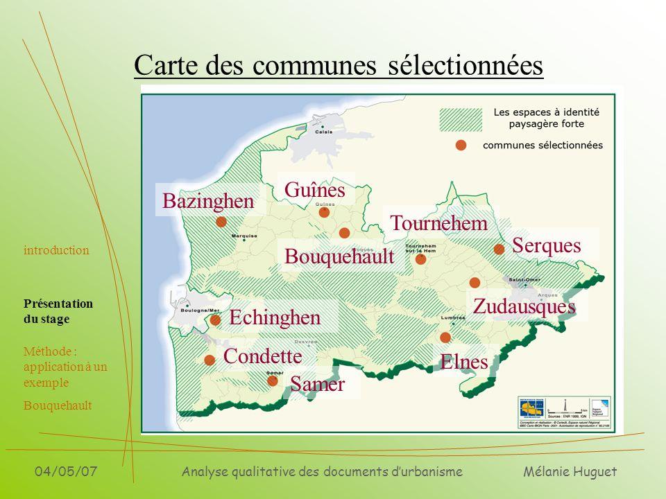Carte des communes sélectionnées