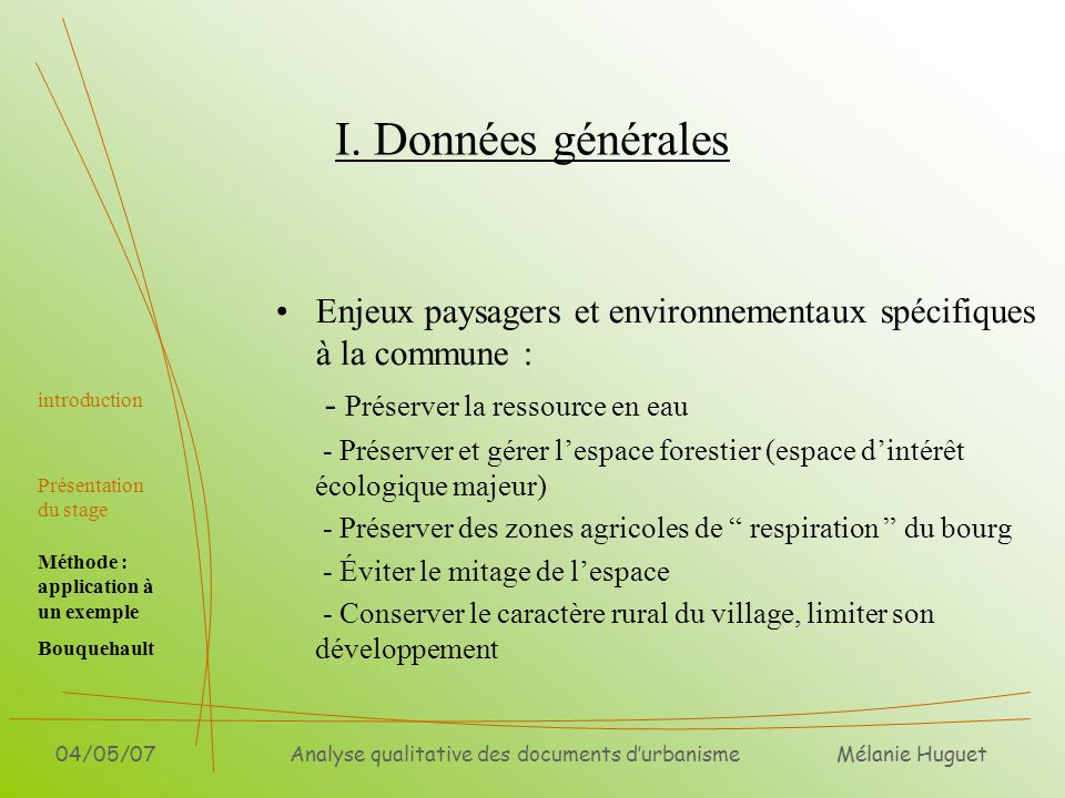 Analyse qualitative des documents d'urbanisme